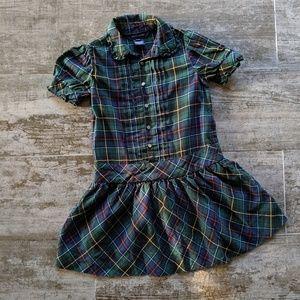 Ralph Lauren Ruffle Pleated Button Dress